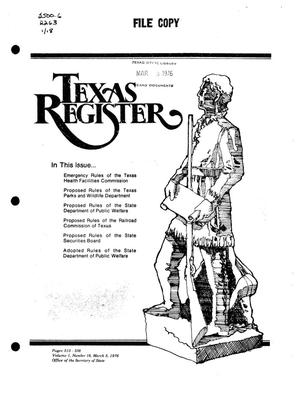 Primary view of object titled 'Texas Register, Volume 1, Number 18, Pages 515-538, March 5, 1976'.