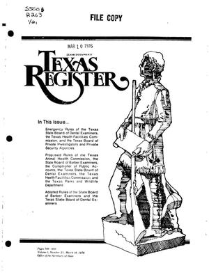Primary view of object titled 'Texas Register, Volume 1, Number 21, Pages 599-650, March 16, 1976'.