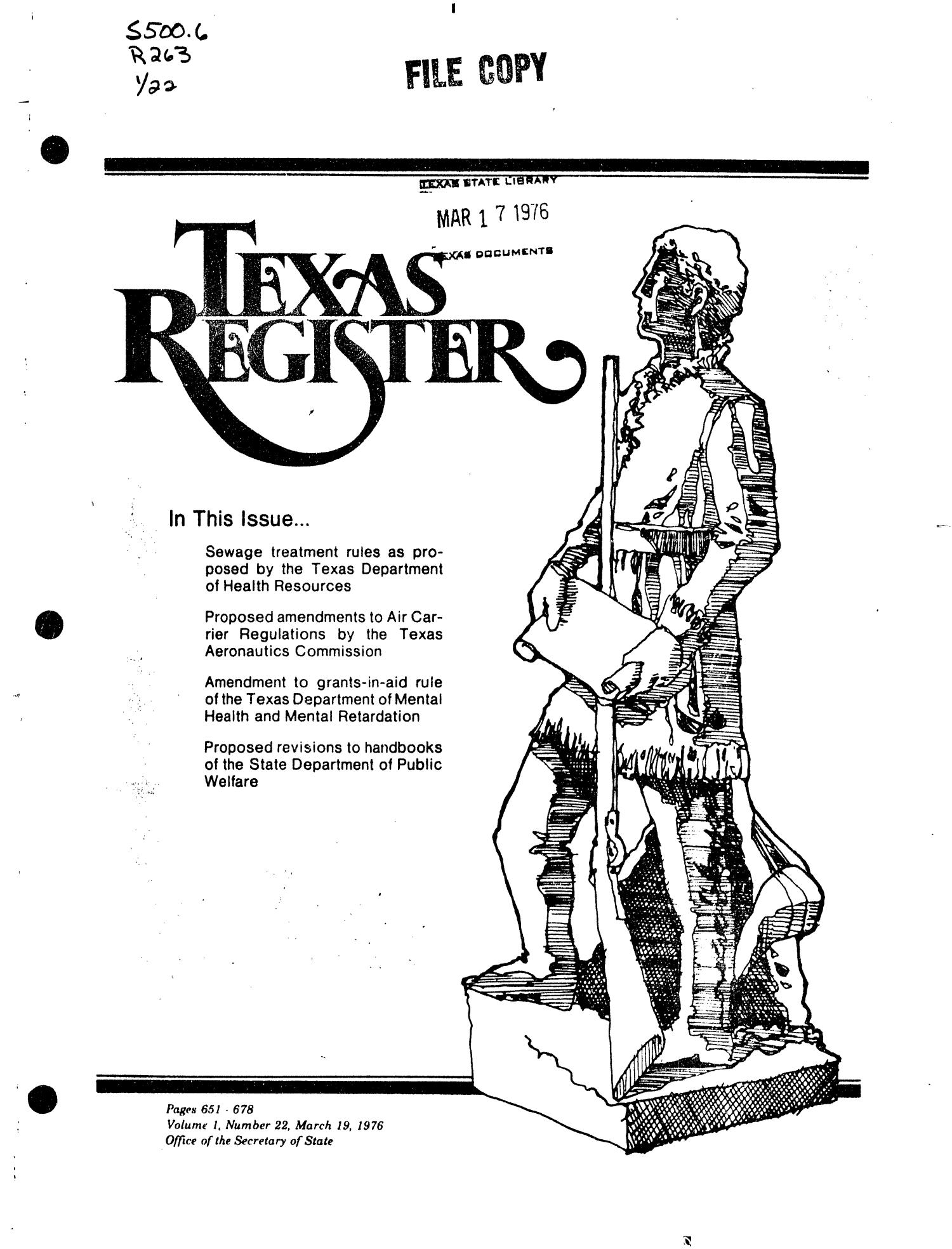 Texas Register, Volume 1, Number 22, Pages 651-678, March 19, 1976                                                                                                      Title Page
