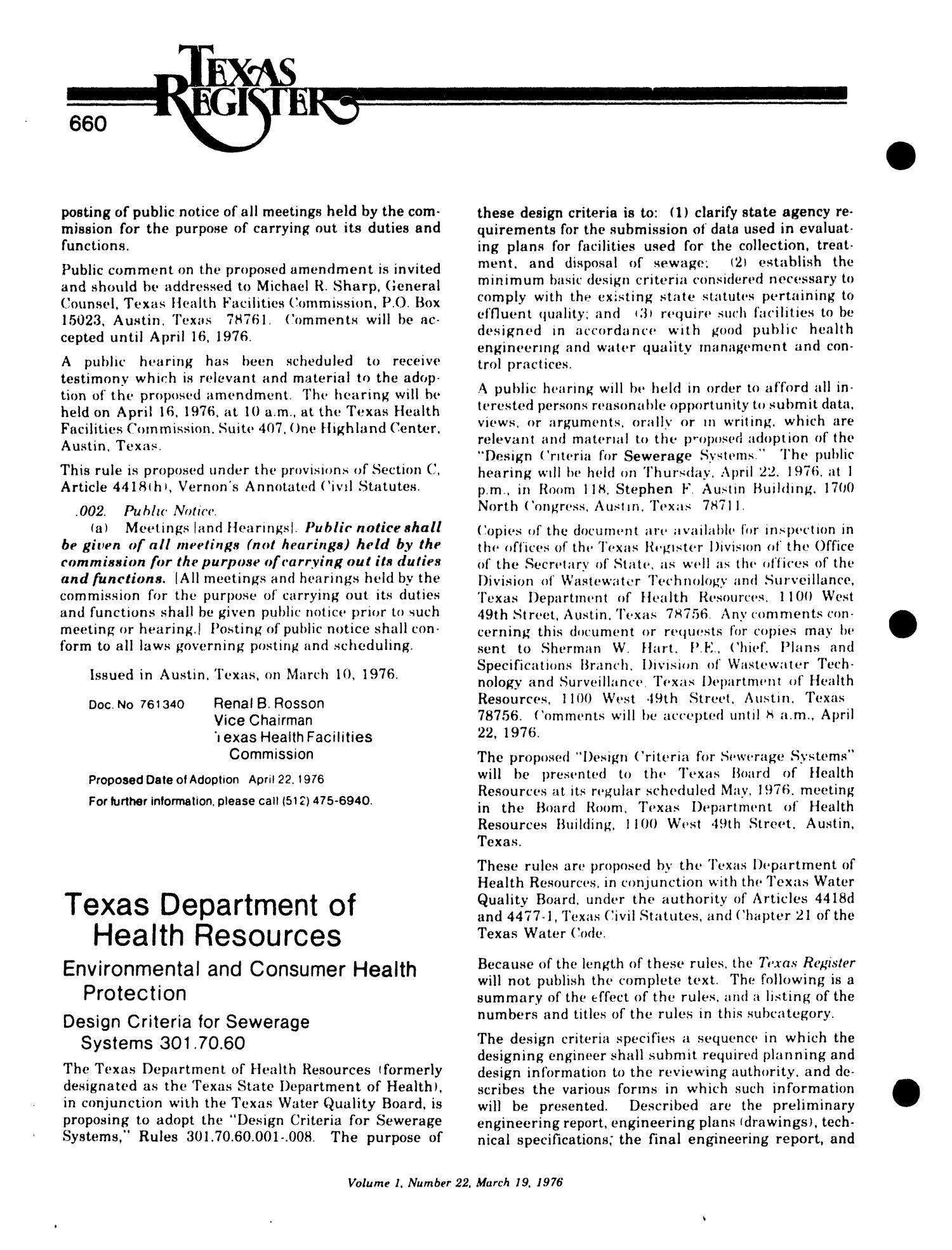 Texas Register, Volume 1, Number 22, Pages 651-678, March 19, 1976                                                                                                      660