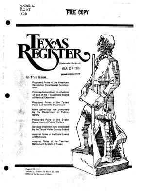 Primary view of object titled 'Texas Register, Volume 1, Number 23, Pages 679-712, March 23, 1976'.