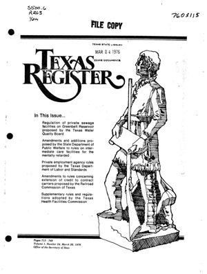 Texas Register, Volume 1, Number 24, Pages 713-748, March 26, 1976