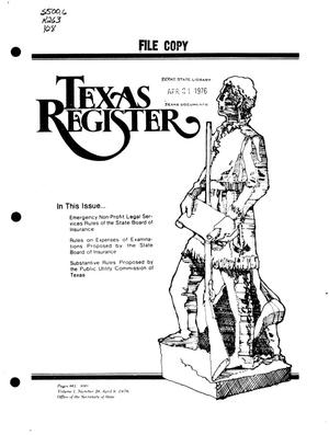 Primary view of object titled 'Texas Register, Volume 1, Number 28, Pages 861-890, April 9, 1976'.