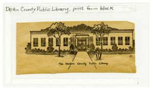 Denton County Public Library, print from block