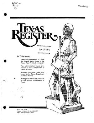 Primary view of object titled 'Texas Register, Volume 1, Number 31, Pages 975-1014, April 20, 1976'.