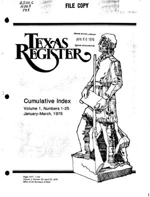 Primary view of object titled 'Texas Register, Volume 1, Number 33, Pages 1077-1104, April 27, 1976'.