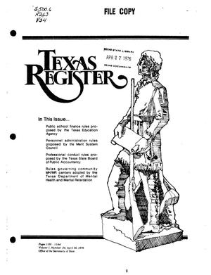 Primary view of object titled 'Texas Register, Volume 1, Number 34, Pages 1105-1144, April 30, 1976'.