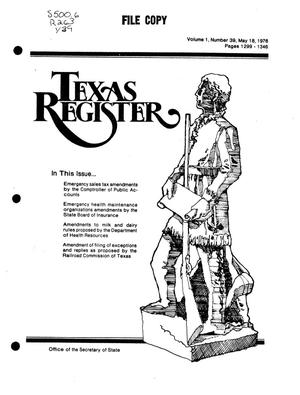 Primary view of object titled 'Texas Register, Volume 1, Number 39, Pages 1299-1346, May 18, 1976'.
