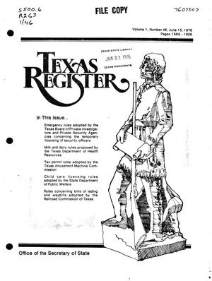 Primary view of object titled 'Texas Register, Volume 1, Number 46, Pages 1569-1606, June 15, 1976'.