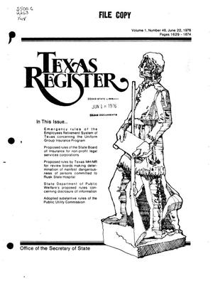 Primary view of object titled 'Texas Register, Volume 1, Number 48, Pages 1629-1674, June 22, 1976'.