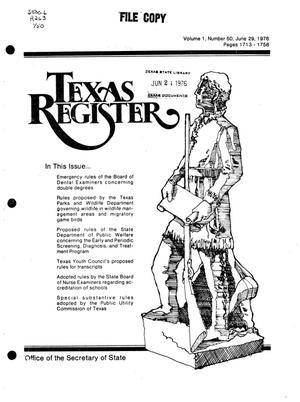 Primary view of object titled 'Texas Register, Volume 1, Number 50, Pages 1713-1758, June 29, 1976'.