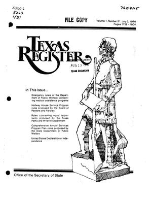 Primary view of object titled 'Texas Register, Volume 1, Number 51, Pages 1759-1804, July 2, 1976'.