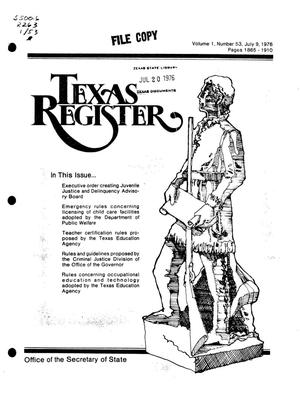 Primary view of object titled 'Texas Register, Volume 1, Number 53, Pages 1865-1910, July 9, 1976'.