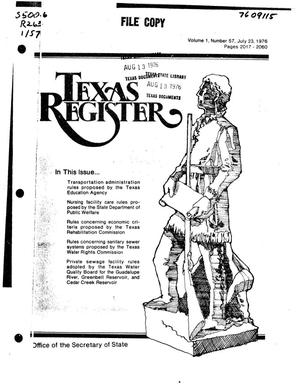 Primary view of object titled 'Texas Register, Volume 1, Number 57, Pages 2017-2060, July 23, 1976'.