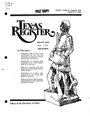 Primary view of object titled 'Texas Register, Volume 1, Number 61, Pages 2175-2204, August 8, 1976'.