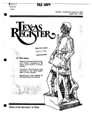 Primary view of object titled 'Texas Register, Volume 1, Number 62, Pages 2205-2234, August 10, 1976'.