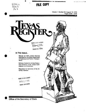 Primary view of object titled 'Texas Register, Volume 1, Number 63, Pages 2235-2248, August 13, 1976'.