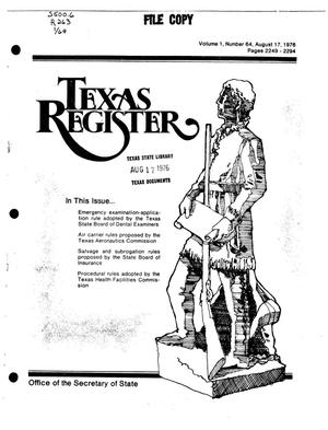 Primary view of object titled 'Texas Register, Volume 1, Number 64, Pages 2249-2294, August 17, 1976'.