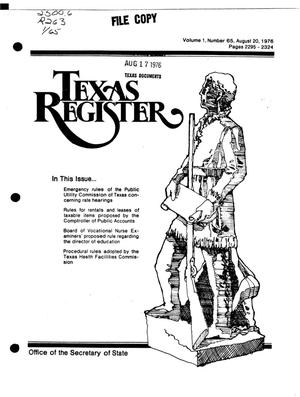 Primary view of object titled 'Texas Register, Volume 1, Number 65, Pages 2295-2324, August 20, 1976'.