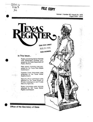 Primary view of object titled 'Texas Register, Volume 1, Number 66, Pages 2325-2370, August 24, 1976'.