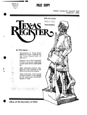 Primary view of object titled 'Texas Register, Volume 1, Number 67, Pages 2371-2392, August 27, 1976'.