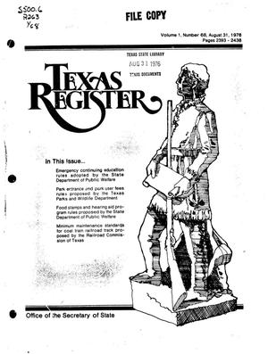 Primary view of object titled 'Texas Register, Volume 1, Number 68, Pages 2393-2438, August 31, 1976'.