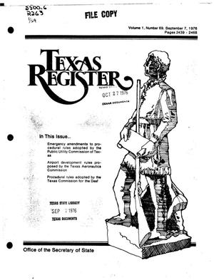 Primary view of object titled 'Texas Register, Volume 1, Number 69, Pages 2439-2468, September 7, 1976'.