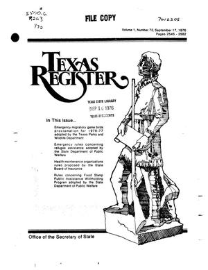 Primary view of object titled 'Texas Register, Volume 1, Number 72, Pages 2545-2582, September 17, 1976'.