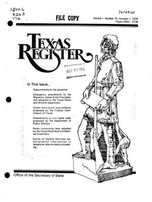 Texas Register, Volume 1, Number 76, Pages 2683-2736, October 1, 1976