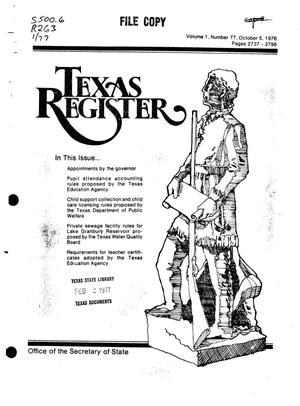 Primary view of object titled 'Texas Register, Volume 1, Number 77, Pages 2737-2798, October 5, 1976'.