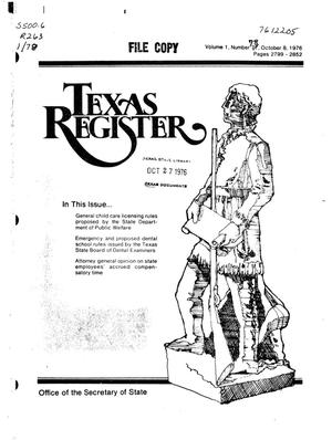Primary view of object titled 'Texas Register, Volume 1, Number 78, Pages 2799-2852, October 8, 1976'.