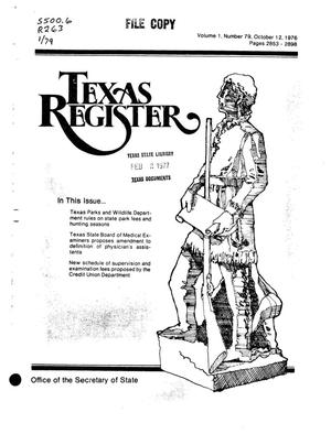 Primary view of object titled 'Texas Register, Volume 1, Number 79, Pages 2853-2898, October 12, 1976'.