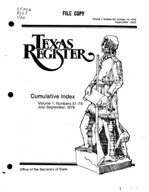 Primary view of object titled 'Texas Register, Volume 1, Number 80, Pages 2899-2925, October 15, 1976'.