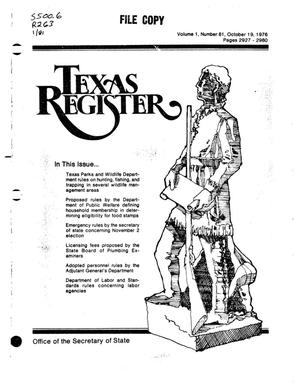 Primary view of object titled 'Texas Register, Volume 1, Number 81, Pages 2927-2980, October 19, 1976'.