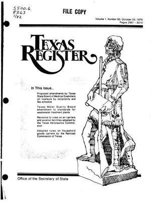 Primary view of object titled 'Texas Register, Volume 1, Number 82, Pages 2981-3010, October 22, 1976'.