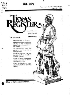 Primary view of object titled 'Texas Register, Volume 1, Number 83, Pages 3011-3056, October 26, 1976'.