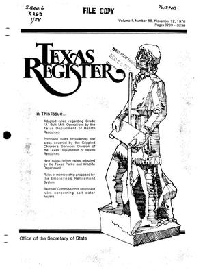Primary view of object titled 'Texas Register, Volume 1, Number 88, Pages 3209-3238, November 12, 1976'.
