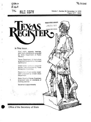 Primary view of object titled 'Texas Register, Volume 1, Number 96, Pages 3477-3554, December 14, 1976'.