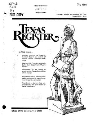 Primary view of object titled 'Texas Register, Volume 1, Number 98, Pages 3633-3678, December 21, 1976'.