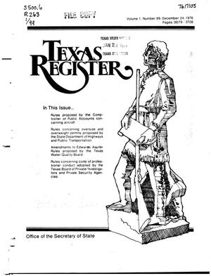 Primary view of object titled 'Texas Register, Volume 1, Number 99, Pages 3679-3708, December 24, 1976'.
