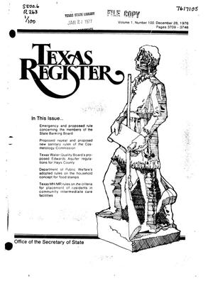 Primary view of object titled 'Texas Register, Volume 1, Number 100, Pages 3709-3746, December 28, 1976'.