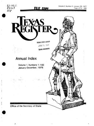 Primary view of object titled 'Texas Register, Volume 2, Number 8, [1976 Annual Index], Pages 274-330, January 28, 1977'.