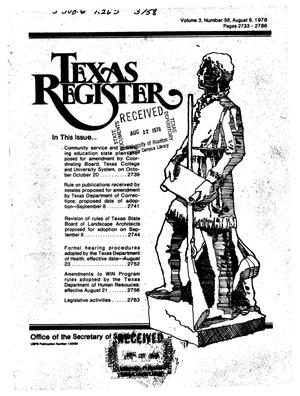 Primary view of object titled 'Texas Register, Volume 3, Number 58, Pages 2733-2786, August 8, 1978'.