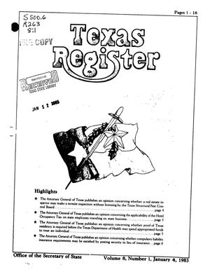 Primary view of object titled 'Texas Register, Volume 8, Number 1, Pages 1-16, January 4, 1983'.