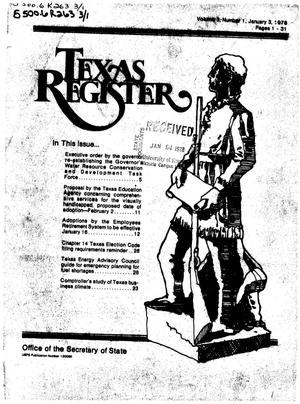 Primary view of object titled 'Texas Register, Volume 3, Number 1, Pages 1-31, January 3, 1978'.