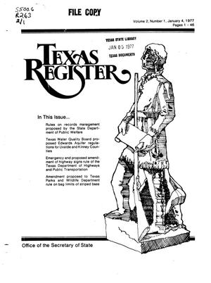 Primary view of object titled 'Texas Register, Volume 2, Number 1, Pages 1-46, January 4, 1977'.