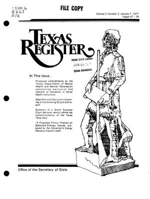 Primary view of object titled 'Texas Register, Volume 2, Number 2, Pages 47-76, January 7, 1977'.