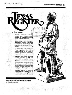 Primary view of object titled 'Texas Register, Volume 3, Number 3, Pages 71-142, January 10, 1978'.