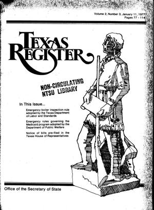 Primary view of object titled 'Texas Register, Volume 2, Number 3, Pages 77-114, January 11, 1977'.