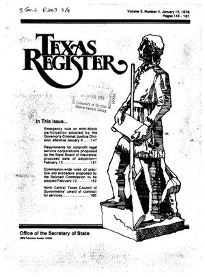 Primary view of object titled 'Texas Register, Volume 3, Number 4, Pages 143-181, January 13, 1978'.